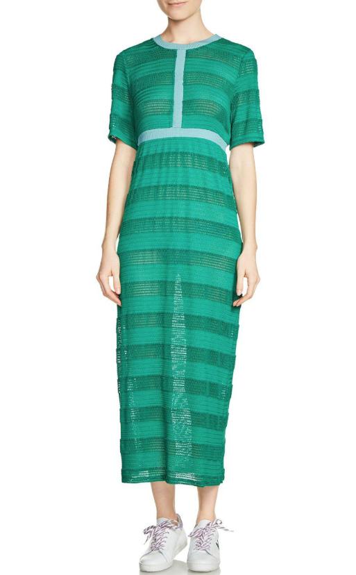 Maje Relona Green Striped Knit Midi Dress
