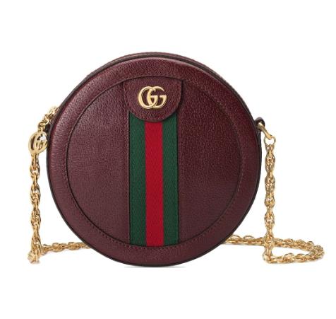 Gucci Ophidia mini round shoulder bag in burgundy