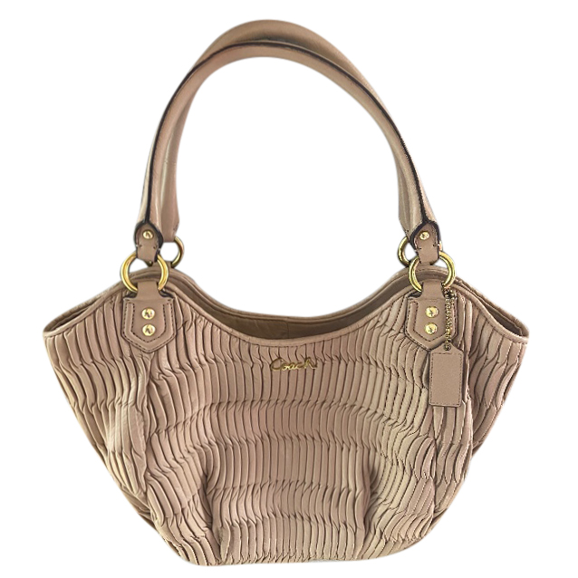 Coach Beige Ruched Leather Tote Bag