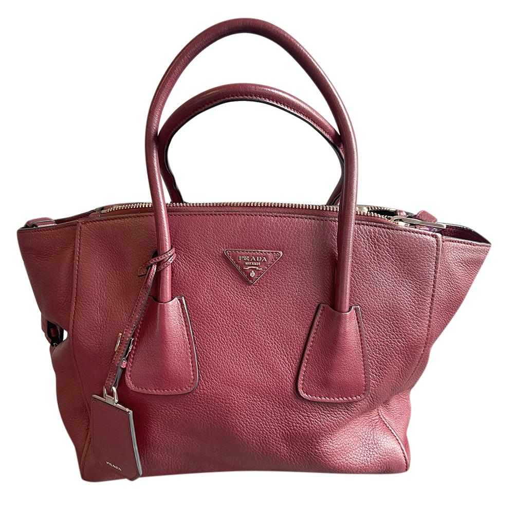 Prada Ruby Grained Leather Tote Bag