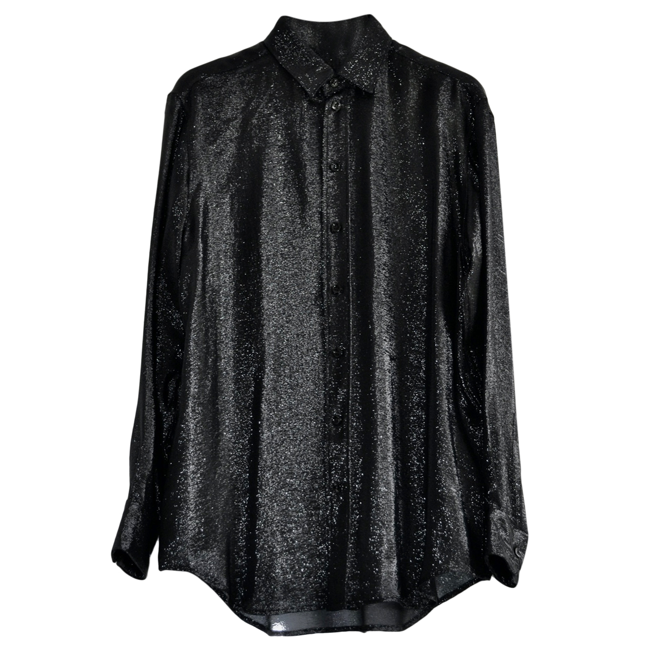Saint Laurent Black Glitter Tailored Shirt