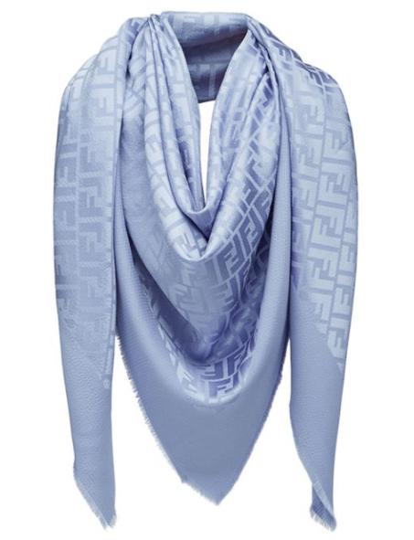 Fendi Blue silk & Wool Monogram Scarf