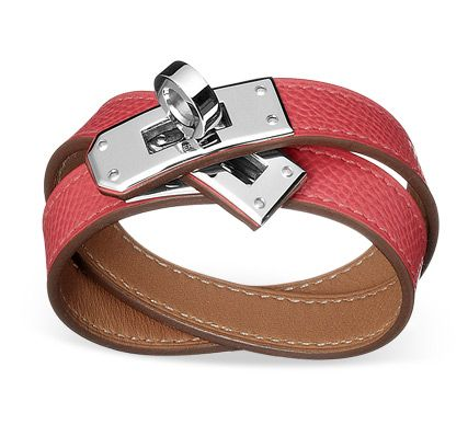 Hermes Epsom Leather Kelly Double Tour Bracelet in Rose Jaipur