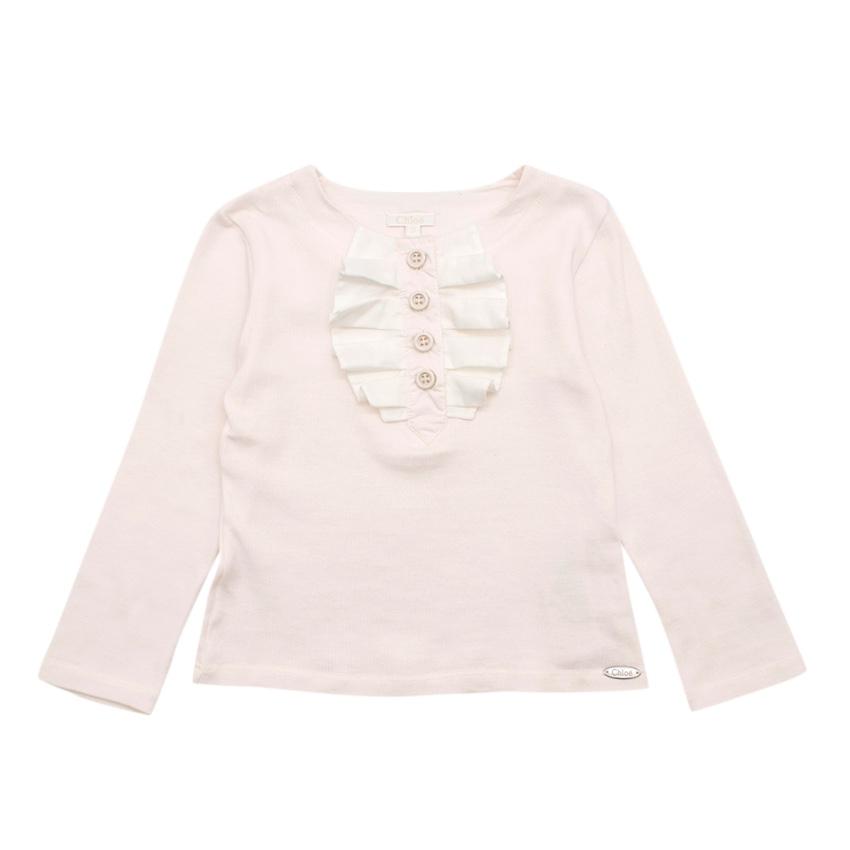 Chloe Kids Baby Pink Long Sleeve Top with Ruffle