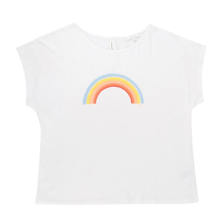 Chloe Girls White Cotton Rainbow Logo T-shirt