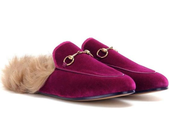 Gucci Velvet Fur Lined Princetown Slippers