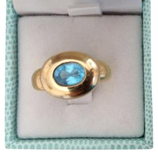 Fred Paris Topaz Set Yellow Gold Cocktail Ring