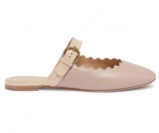 Chloe Lauren Scalloped Leather Mary Jane Slides