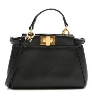 Fendi Black Micro Peekaboo Leather Shoulder Bag