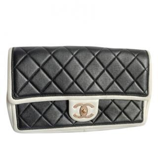 Chanel Black & White Limited Edition Stitch Detail CC Flap Bag