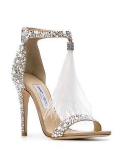JIMMY CHOO Viola 110 Crystal & Feather Embellished Sandals