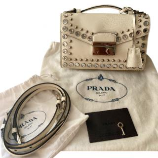 Prada Ecru Studded Lock Shoulder Bag