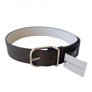 Burberry Khaki Grained Leather Belt