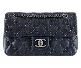 Chanel Paris/Dallas Navy Studded Flap Bag