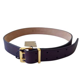 Burberry Purple Grained Leather Belt