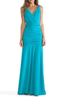 Halston Heritage Turquoise Ruched Maxi Dress