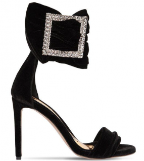 Alexandre Vauthier 100mm Yasmin Embellished Velvet Sandals