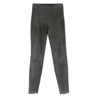 Theory Grey Leather Suede Skinny Trousers