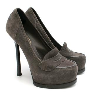 Yves Saint Laurent Grey Suede Heeled Penny Loafers