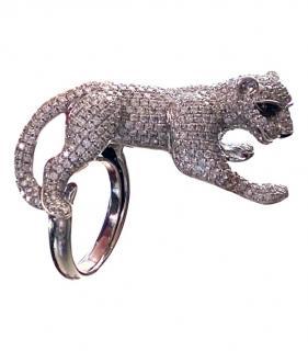 Bespoke White Gold Diamond Panther Ring