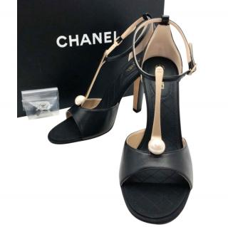 Chanel Pearl T-Bar Sandals