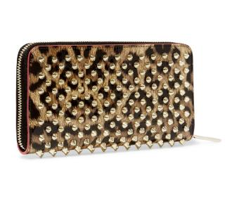 Christian Louboutin Panettone Spike Zip Around Leopard Print Wallet