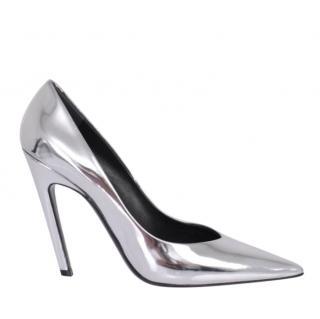 Balenciaga silver mirror pumps