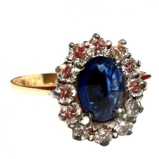 Bespoke vintage sapphire and diamond cluster ring