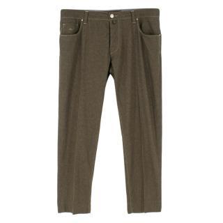Jacob Cohen Khaki Flannel Wool Trousers