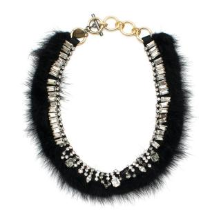 Venna Black Faux Fur Trim Crystal Necklace