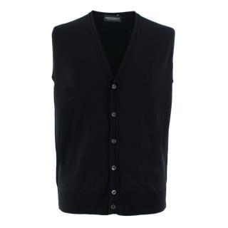 John Smedley Black Finagon Wool Waiscoat