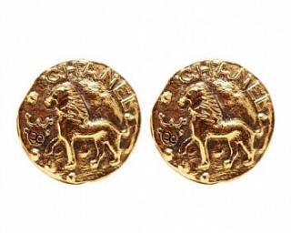 Chanel CC Gold Lion Vintage Earrings