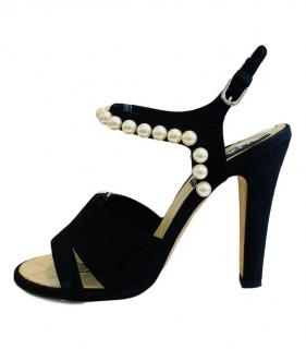 Chanel Black Pearl Trim Suede Sandals
