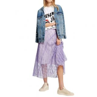 Sandro babet stripe-pattern lace skirt