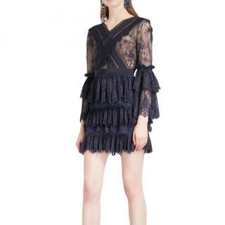 Self Portrait Trimmed Fine Lace Mini Dress