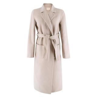 Sezane Beige Wool Long Belted Coat