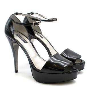 Dolce & Gabbana Patent Black Platform Sandals