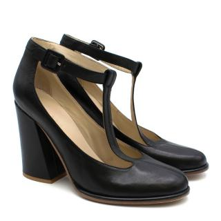 See By Chloe Black Leather T-Bar Pumps