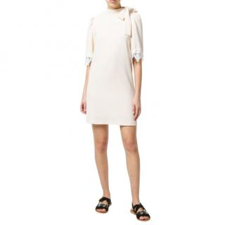 See by Chloe Lace Trim Sleeve Bow Neck Dress