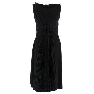 Prada Black Chiffon Detail Sleeveless Dress