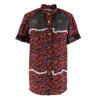 Coach Red Floral Print Short-Sleeve Chiffon Ruffle Neck Blouse
