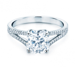 Tiffany & Co. Square Cut Solitaire Diamond Ring