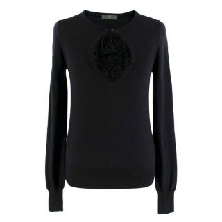 McQ by Alexander McQueen Black Wool Sweater with Lace Detail