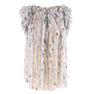 Isabel Marant Ruffled Silk Printed Sheer Top