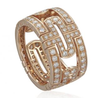 Bvlgari Rose Gold Pave Set Diamond Ring
