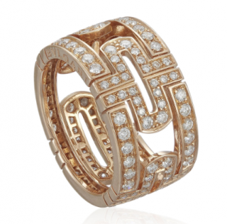 Bvlgari Rose Gold Pave Set Diamond Ring