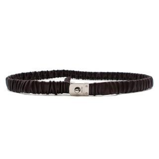 Miu Miu Purple Ruched Elasticated Leather Belt