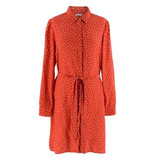 P.A.R.O.S.H Red Polka-dot Silk Shirt Dress