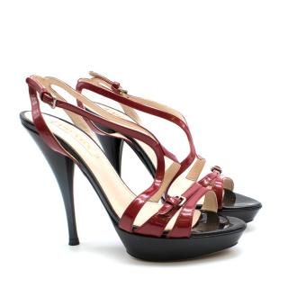 Prada Black & Red Patent Leather Stiletto Sandals