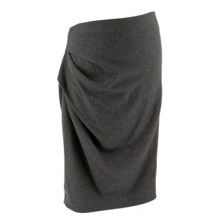 Amanda Wakeley Grey Wool Skirt with Ruched Side